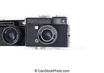Old camera on white background retro .