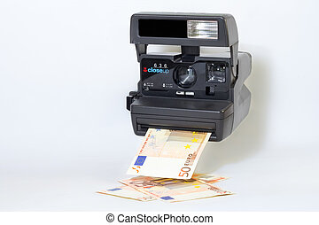 Old camera printing out money - Old camera printing out...