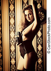 old camera - Seductive naked young woman in sexual lingerie...