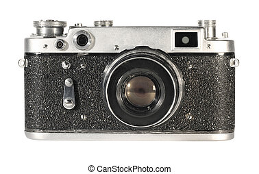 Old camera - The old mechanical camera on a white background...