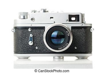 Old camera - vintage camera isolated on white