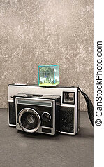 old camera with flash cube