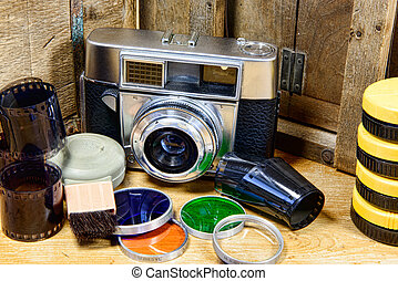 old camera with some accessories