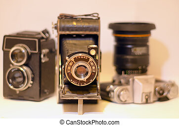 Old Cameras - A display of three old cameras