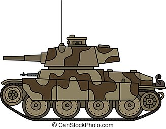 Old camouflage tank