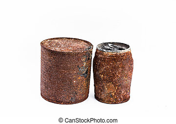 Old can on white background