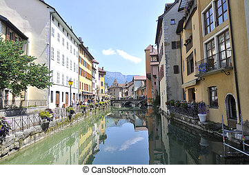 Old canal in Annecy with buinldings in Annecy