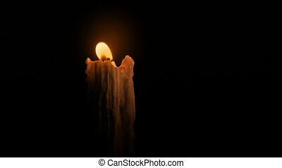Old Candle Blown Out In The Dark