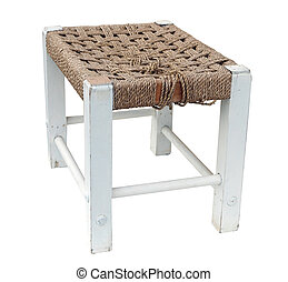 Old Cane Toped Footstool isolated with clipping path