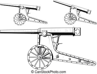 old cannon - an old nineteenth-century siege cannon isolated...