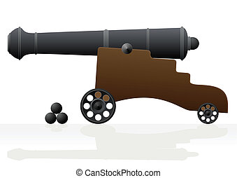 Old cannon and the nucleus - Antique cannon on gun carriage...
