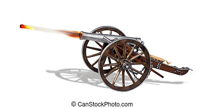 Old Cannon in Action.. - Shooting cannon ball out of old...
