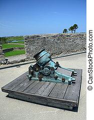 old cannon in Castillo de San Marcos fort