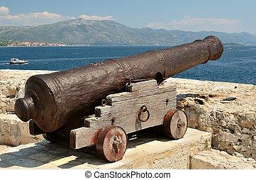 Old cannon in Korcula, Croatia