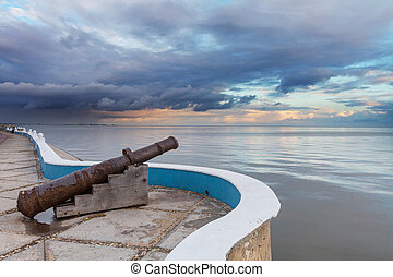 Colonial cannon in seafront in Campeche, Mexico