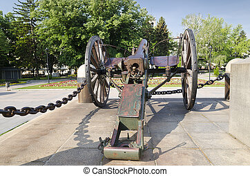 Old cannon in the city center