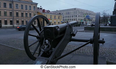 Old cannon on the street