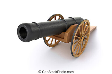old cannon on the white background (3d render)