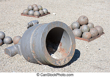 Old cannon with bullets in the fortress of Dinant, Belgium