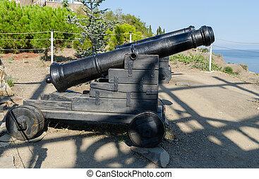 Old cannons near the Temple-beacon in Malorechenskoye....