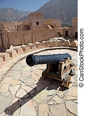 Old canon on the top of the Nakhl Fort