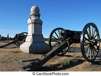 Old Canonns - Old cannons beside a monument in Gettysburg