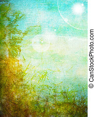 Old canvas: Abstract textured background with blue, yellow, and green patterns