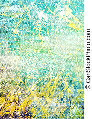 Old canvas: Abstract textured background with blue, yellow, and green patterns on white backdrop