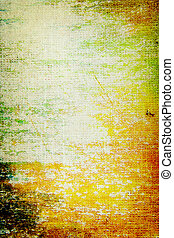 Old canvas: Abstract textured background with green, orange, and brown patterns on yellow backdrop
