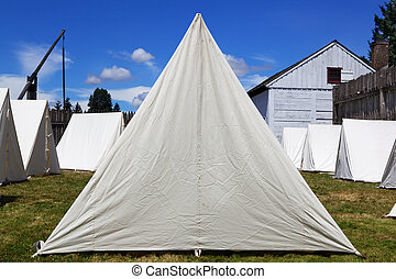 Old Canvas Army Tents - Old style canvas army tents lined up...