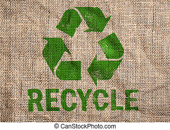 Old canvas with recycle sign. - Rough old canvas with green ...