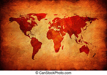 Old canvas with world map.