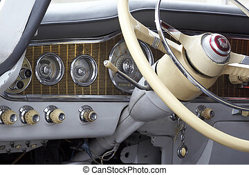 old car - 1950's classic steering wheel of car which rented ...