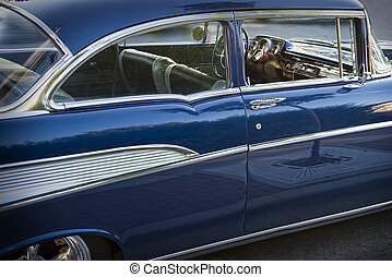 Old Blue Car with Chrome Trim, 1957 Chevrolet Bel Air, Side View