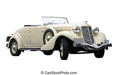 old car - A 1935 convertable isolated on white