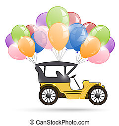 Old car and a bunch of balloons
