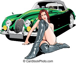 old car and sexy woman