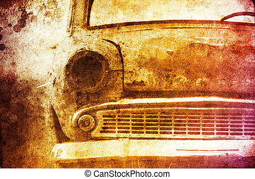 Old car at field. Photo in multicolor image style