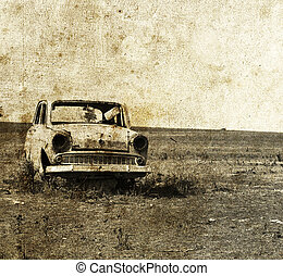 Old car at field. Photo in old imag
