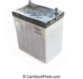 old car battery on awhite background