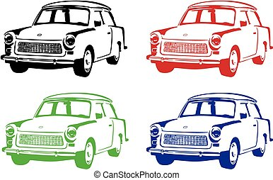 OLD CAR - Vector illustration of an old car.