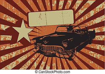 Old car on grunge background with rays and banner