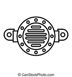Old car horn icon, outline style