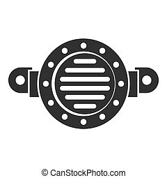 Old car horn icon, simple style