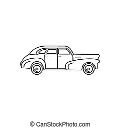 Old car icon, outline style - Old car icon. Outline old car...
