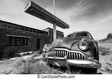 Old car in Arizona. Black and white