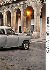 Old car in Havana street - Detail of vintage classic car and...