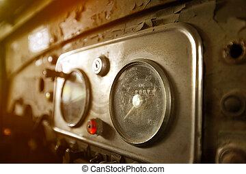 Old car instrument panel