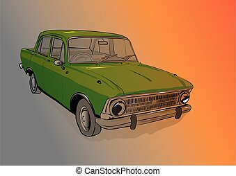 old car isolated on red background