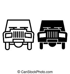 Old car line and glyph icon. Transport vector illustration isolated on white. Automobile outline style design, designed for web and app. Eps 10.
